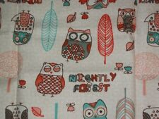 Nightly Forest~Multi  Owls and Feathers~~18 X 21~~2 Pieces  1 /2 Yd Total   Z2