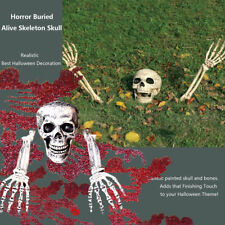 Halloween Garden Yard Lawn Decoration Horror Buried Alive Skeleton Skulls 3pcs