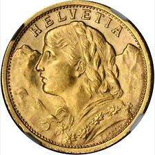 SWITZERLAND REPUBLIC 1909-B  20 FRANCS GOLD COIN UNCIRCULATED CERTIFIED NGC MS64