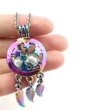 """C764 Rainbow Colorful Beads Cage Star Cat Dream Catcher Stainless Necklace 20"""""""