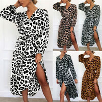 Women Long Sleeve Leopard Shirt Dress Split Evening Party Casual Midi Maxi Dress