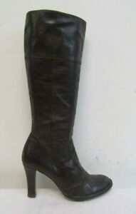 TOPSHOP WOMENS KNEE HIGH BOOTS SIZE UK 5 EU 38 BROWN SOFT LEATHER
