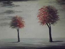 Rosso Minimale Alberi Grande dipinto a Olio Tela Nero Bianco originale astratto moderno