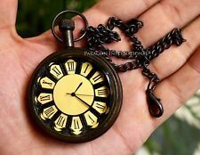 Brass Pocket Watch Victoria London Antiqued  with Chain
