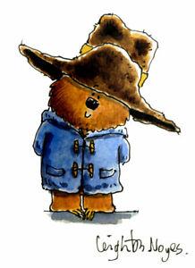 Paddington Bear, art illustration drawing original signed childrens