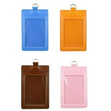 Leather Vertical ID badge holder with Window and Card Slot (Size: 3 X 4.5 inch)