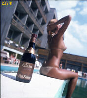 amazing hungarian model Pataki Ági in bikini, Wine add, swimsuit, vintage slide