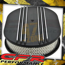 """Chevy Ford Mopar Al 12"""" Oval Air Cleaner Paper Filter Polished Partial Finned"""