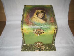 Antique Victorian celluloid decorated dresser box w/ 2 compartments