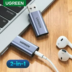 Ugreen USB External Sound Card Audio Adapter USB to 3.5mm Jack Stereo Fr Mac,PS5