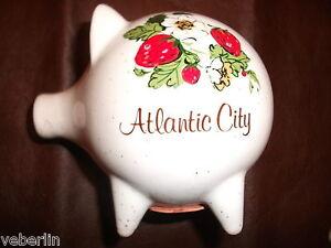 Vtg Atlantic City Ceramic Coin Piggy Bank, 1988, Strawberries & Blossoms Design