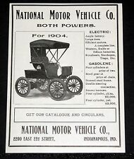 1904 OLD MAGAZINE PRINT AD, NATIONAL MOTOR VEHICLE CO, ELECTRIC OR GASOLENE CAR!