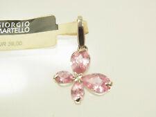 Giorgio Martello Blüten Anhänger Charm 925 Sterlingsilber 4 rosa Zirkonia