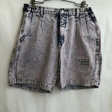 Vintage 90s Pink Acid Stone Wash Denim Jean Shorts Lee Air Gear Unisex 31 Waist