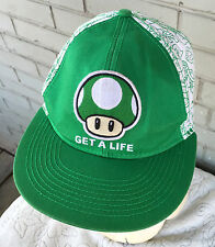 Super Mario Bros Get A Life One Up Mushroom Nintendo Green Baseball Cap Hat