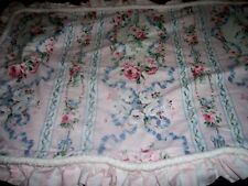 single king size pillow sham pink flowers blue ribbons by Sweetpea