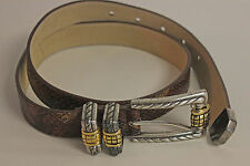 Vintage Streets Ahead Snake Belt Italy Made Silver Gold Buckle Los Angeles SZ M