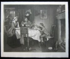 1884 Original Marcus Stone James Scott Watt Tea Kettle Steam Mezzotint Print Lrg