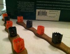 Dept 56 Halloween Luminaries Lights Mini Orange & Black 1988 Village Accessories