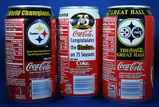 🏈 PITTSBURGH STEELERS COKE COCA COLA COMMEMORATIVE THREE UNOPENED CAN SET 🏈
