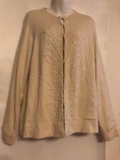 Liz Claiborne Sz XL Cardigan Heavily Embellished Lined Beige Vintage Silk Blend