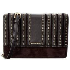 Michael Kors Brooklyn Grommet Large Leather Crossbody Bag in Black