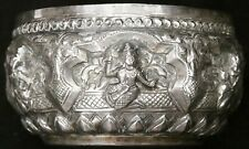 Antique Vintage Burmese Thai Repousse 900 Silver Thabeik Bowl Water Offering Old