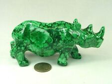 "BUTW Hand Carved Zaire African 5.3"" Malachite Rhino Lapidary 0286P"