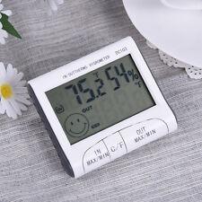 Digital LCD Thermometer Hygrometer Temperature Humidity Meter Gauge Clock White