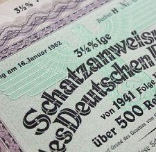 500 RM Nazi War Bond Cert WWII + Swastika (Rare Unredeemed Issue CV: $299.95)