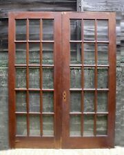 "60""x78"" Pair Antique Vintage Old Wood Wooden French Double Doors 30 Window Glass"
