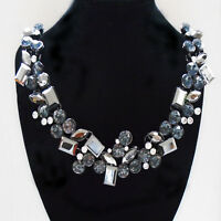 Strass grau weiß Glamour Design Statement Kette Halskette Collier geschwärzt neu