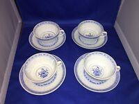 RICE FLOWER BY TIENSHAN SET OF 4 FOOTED CUP & SAUCER SETS 2 1/8 INCH