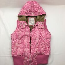 Aeropostale Quilted Vest Jacket Hooded Puffer Pink Faux Fur Women's Size M