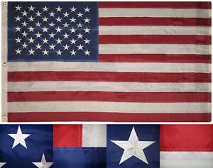 8x12 American USA 50 Star 210D 8'x12' Heavy Duty Nylon Embroidered Flag