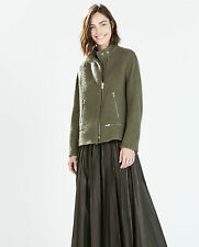 ZARA KHAKI GREEN JACKET WITH BUCKLED STRAP ON COLLAR SIZE XS