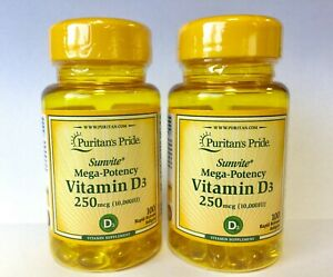 2 packs Vitamin D3 250 mcg (10000 IU) Mega Potency Puritan's Pride 100 Softgels