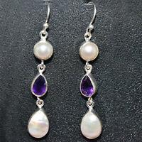 Amethyst & Pearl gemstone dangle earring Jewelry 5.77 gms 925 Sterling Sliver