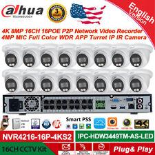 Dahua 4K 16Ch 16Poe Full Color Nvr Cctv System 4Mp Mic Turret Ip Ir Camera Lot