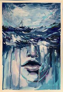 original painting A3 357VE art samovar Surrealism acrylic woman underwater