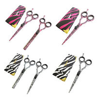 "YNR Hairdressing Scissors 5.5"" Hair Scissors White Pink Zebra Barber Shears Gift"