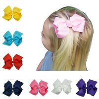 4 INCH BABY BOWS BOUTIQUE HAIR CLIP ALLIGATOR CLIPS GROSGRAIN RIBBON BOW GIRL UK