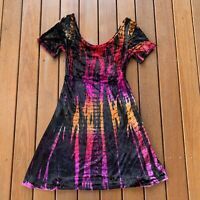 Tree Of Life Size XS Mini Fit & Flare Dress Rainbow Colourful Velvet Scoop Neck