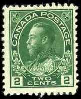 Canada #107 mint F-VF OG NH 1922 King George V 2c yellow green Admiral Wet Print