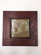 Gingko Ceramic Handmade Emu Tile Framed Arts & Crafts Mission Style Oak Park