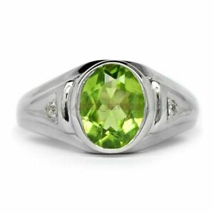Natural Peridot Gemstone with 925 Sterling Silver Ring for Men's #1400