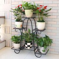 3/4/ 6 Tiers Metal Plant Stand Flower Pot Holder Rack Display Garden Patio Decor