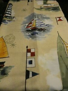 NAUTICAL Light Houses Boats ocean sea lake fabric SHOWER CURTAIN~compass FLAGS