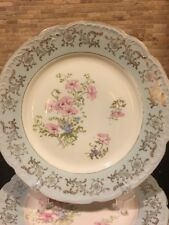 "Vintage O&E.G. 3 Royal Austria 8"" Plates Floral Design Light Blue Shabby Chic"