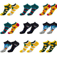 2019 Men's Funky Fruit Casual Low Boat Socks Short Breathable Ankle Cotton Socks